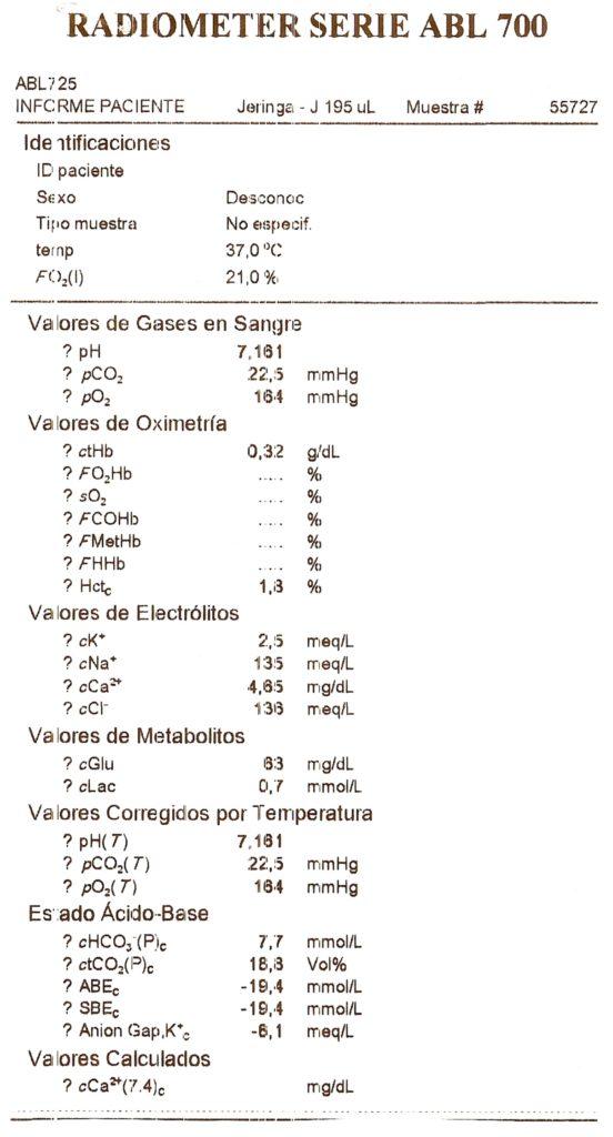 Gasometría de fluido gastro-intestinal.