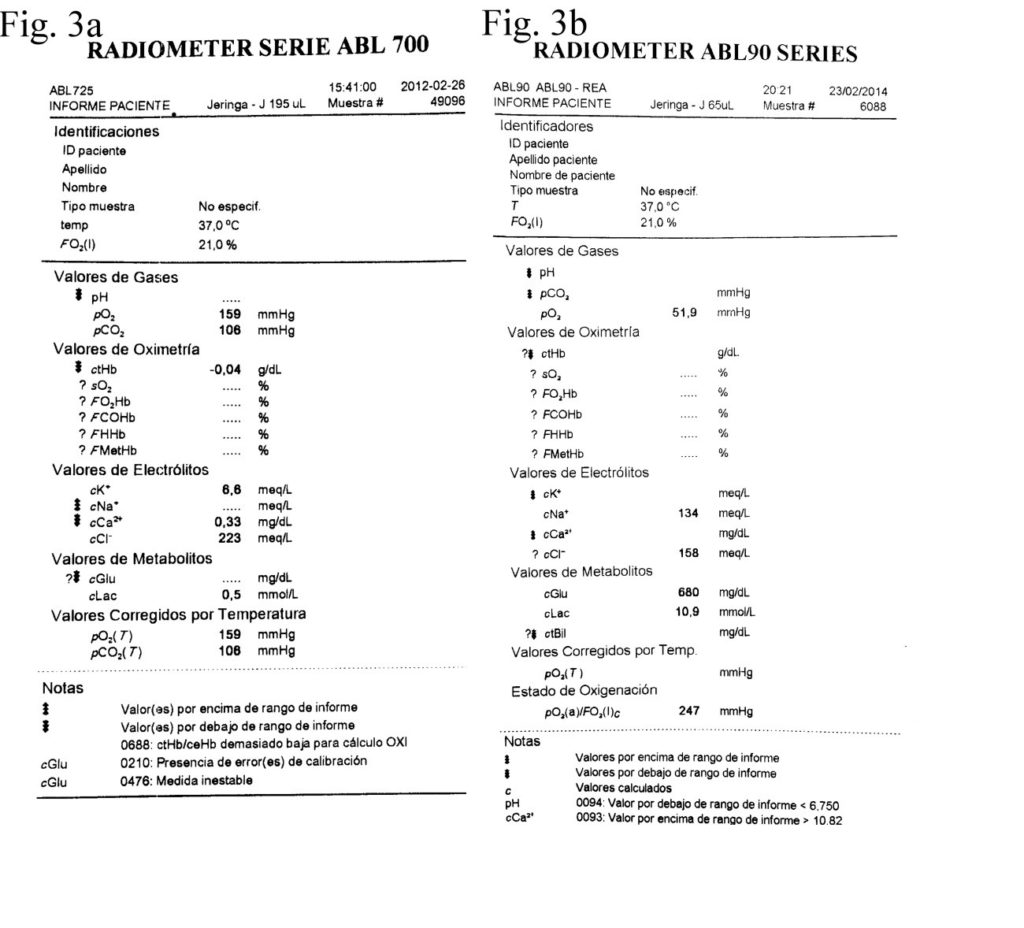 Gasometrías del segundo y tercer paciente. Gasometries of the second and third patients.